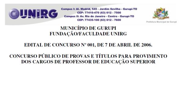 Edital completo do Concurso Publico para Docente de 2006