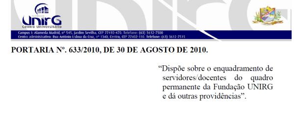 Portaria 633/2010 Enquadramento Docente no Regime de Trabalho