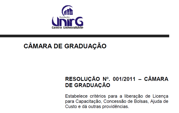 RESOLUCÃO n°001 – 201 CONSUP, Licença Capacitação, Bolsa e Ajuda de Custo