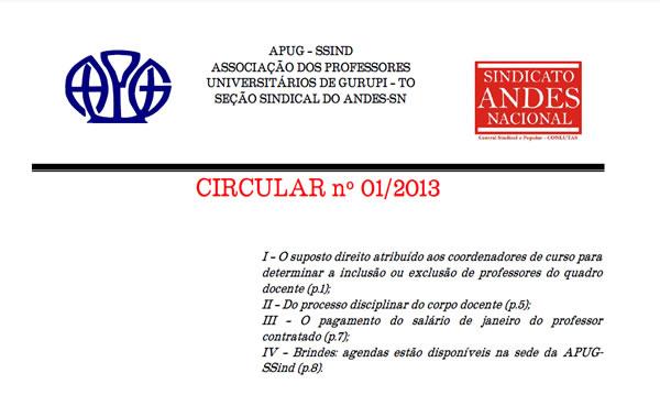 Circular N° 001/2013