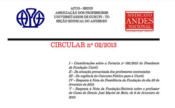 Circular nº 002/2013