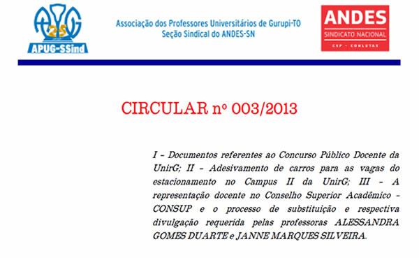 Circular n° 003/2013