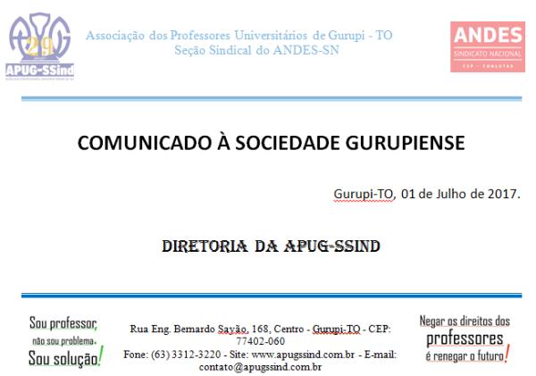 COMUNICADO APUG À SOCIEDADE GURUPIENSE