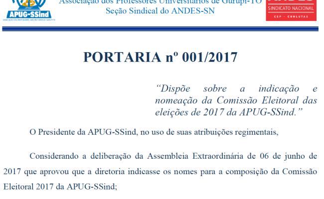 Nomeada comissão eleitoral da Apug-Ssind