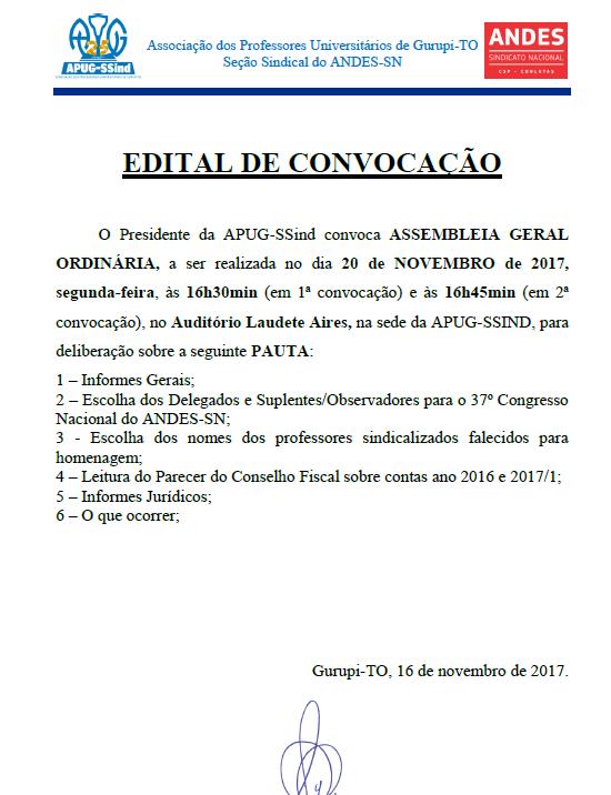 Edital Convocação Assembleia Geral Ordinária Apug-Ssind