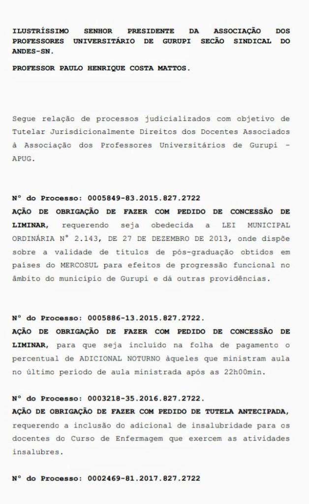 Ações judicializadas APUG - Ssind