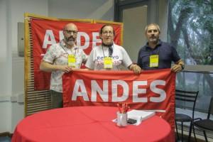Da esquerda para direita: Paulo Opuszka (APUFPR), Celi Zulke (APUB/ANDES NE III) Luis Pasquetti (ADUNB)
