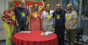 Integrantes das Chapas 01 e 02 na apresentação das inscrições, durante o 39º Congresso do ANDES-SN