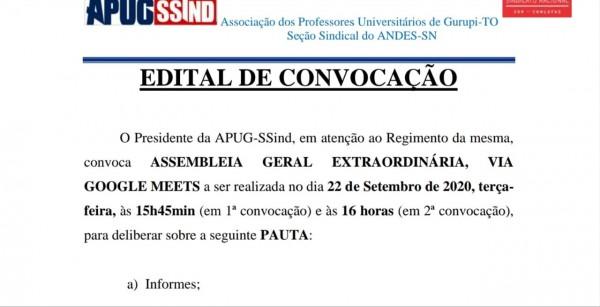 Apug convoca assembleia extraordinária Remota para o dia 22 de setembro