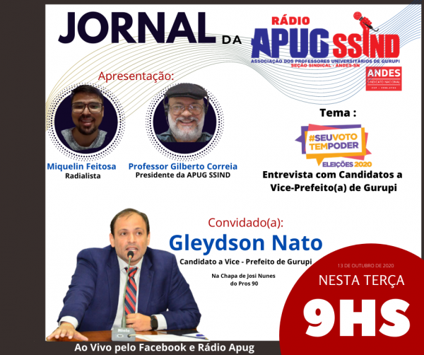 Entrevista com vice de Josi Nunes será na próxima terça-feira (13/10)