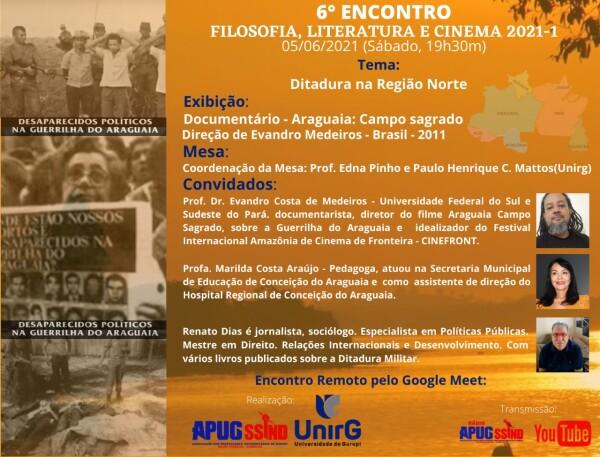 Filosofia, Literatura e Cinema finaliza semestre que debateu ditadura militar e trabalho escravo na região norte